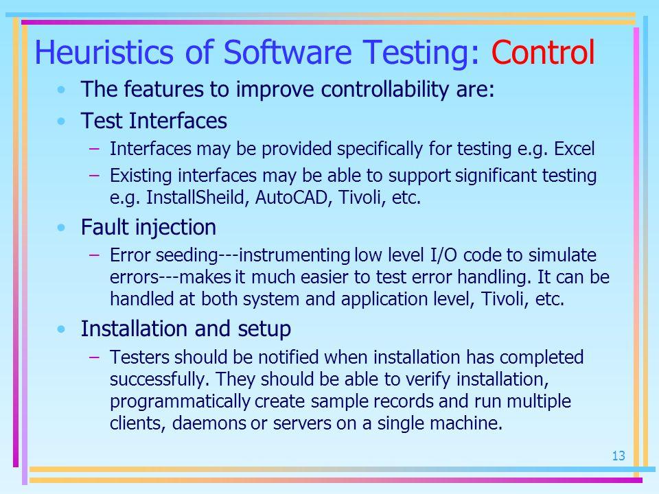Heuristics of Software Testing: Control