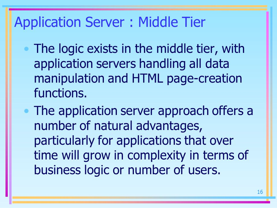 Application Server : Middle Tier