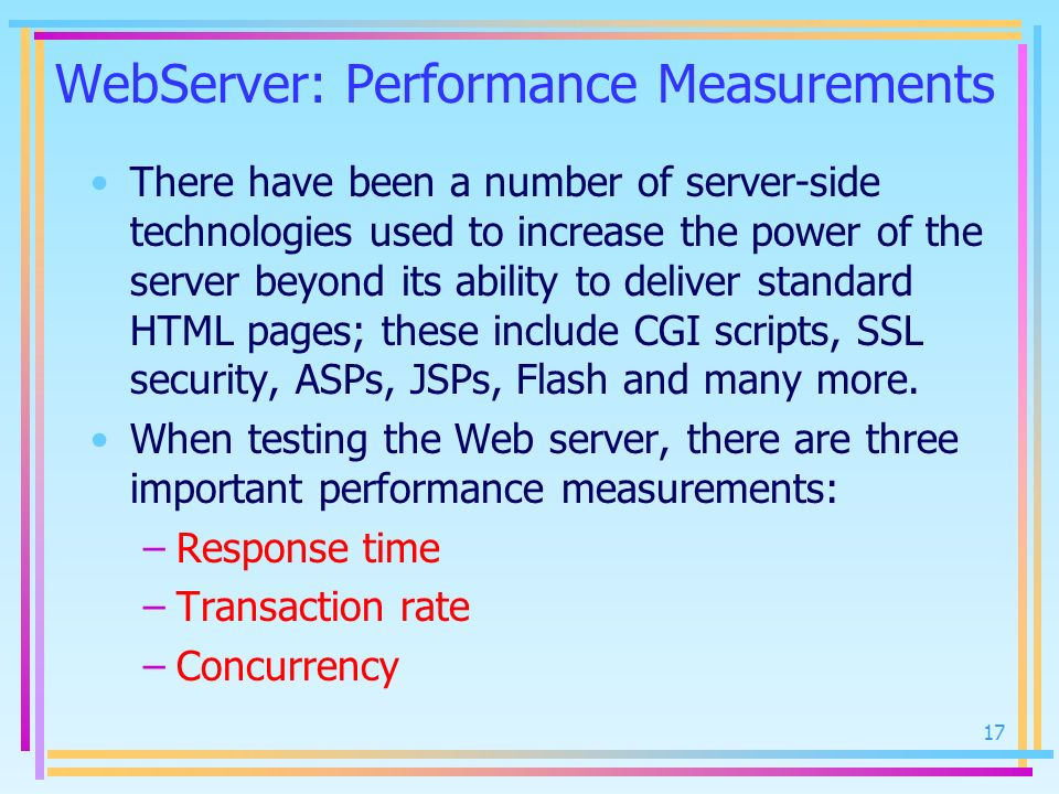 WebServer: Performance Measurements