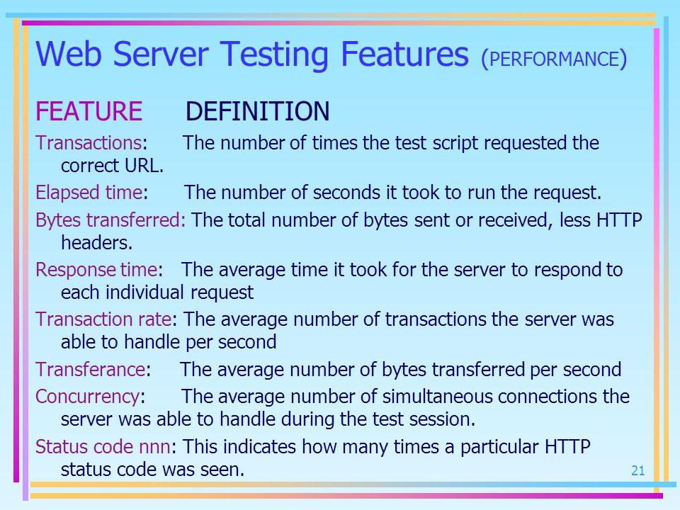 Web Server Testing Features (PERFORMANCE)
