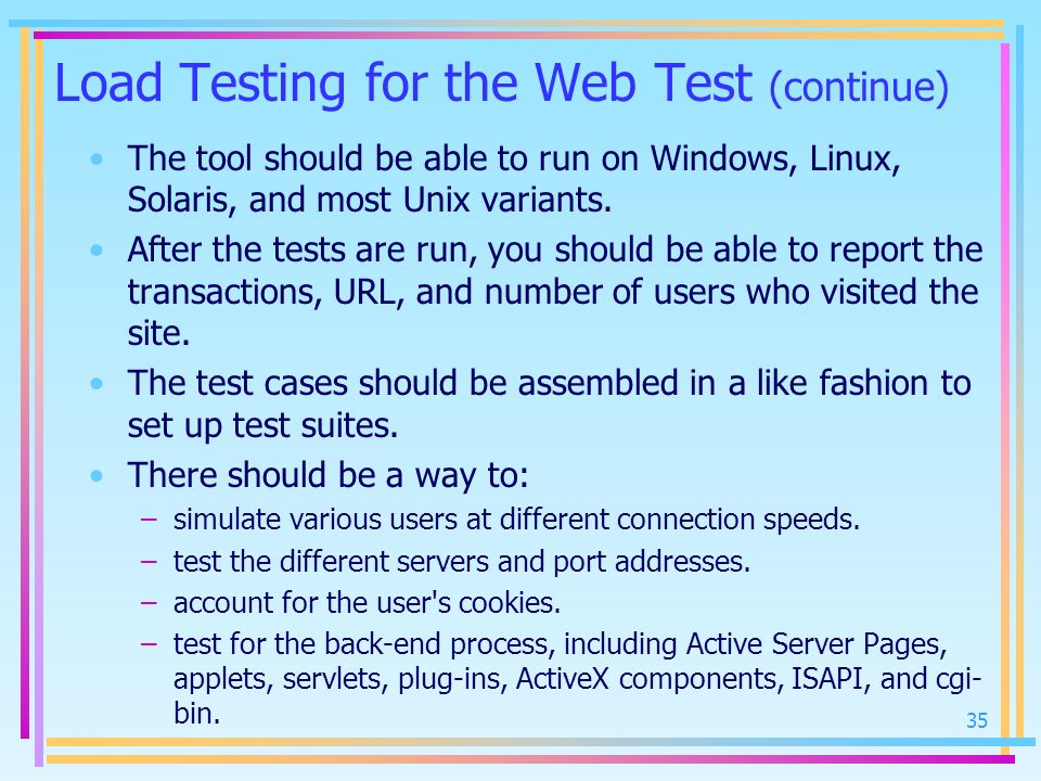 Load Testing for the Web Test (continue)