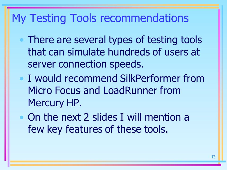 My Testing Tools recommendations