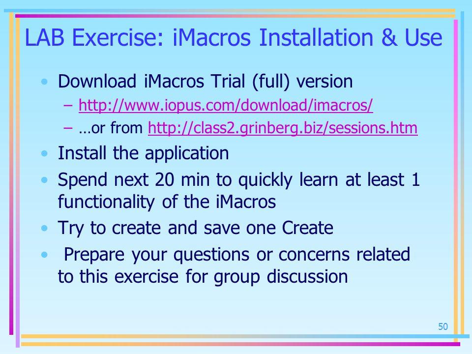 LAB Exercise: iMacros Installation & Use