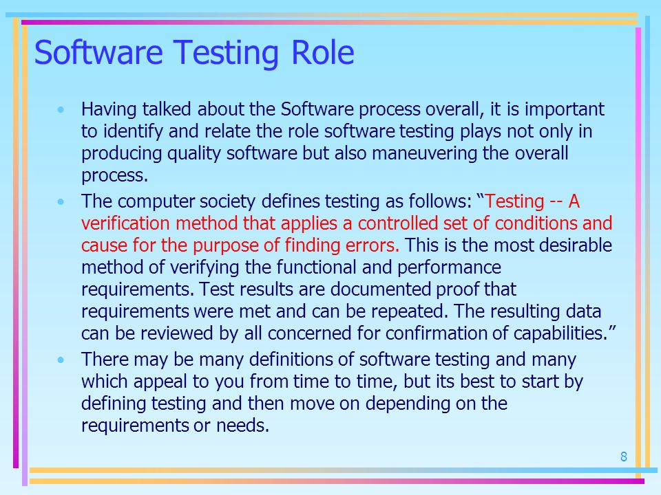 Software Testing Role