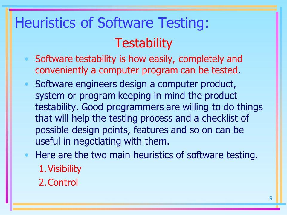 Heuristics of Software Testing: