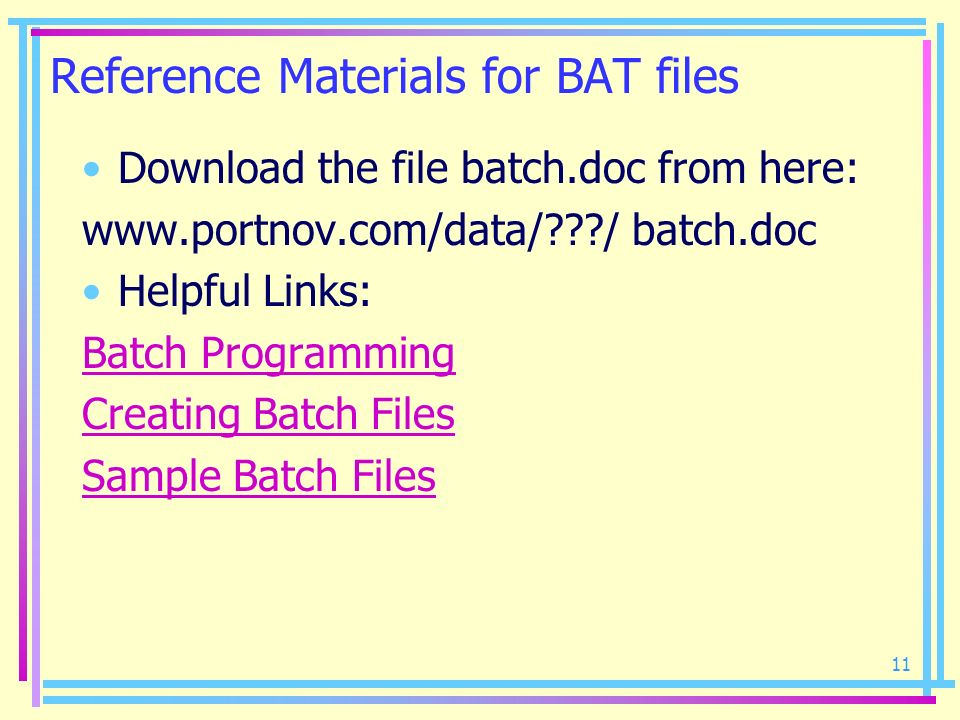 Reference Materials for BAT files