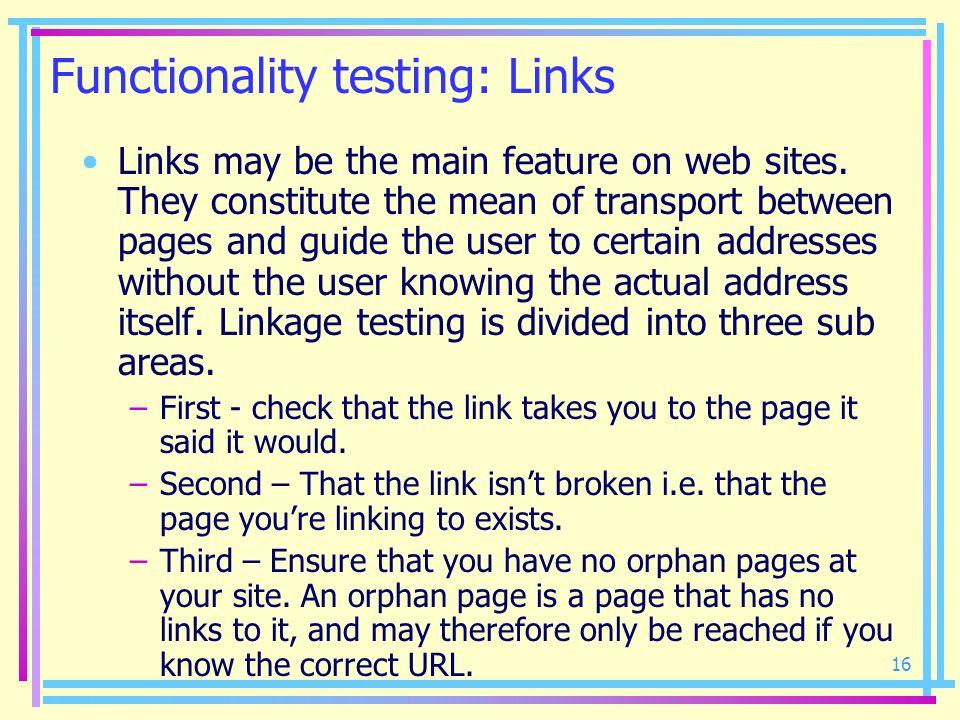 Functionality testing: Links
