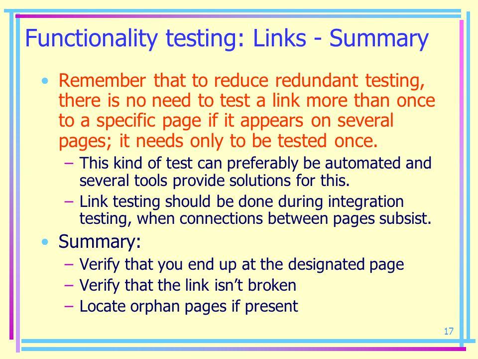 Functionality testing: Links - Summary