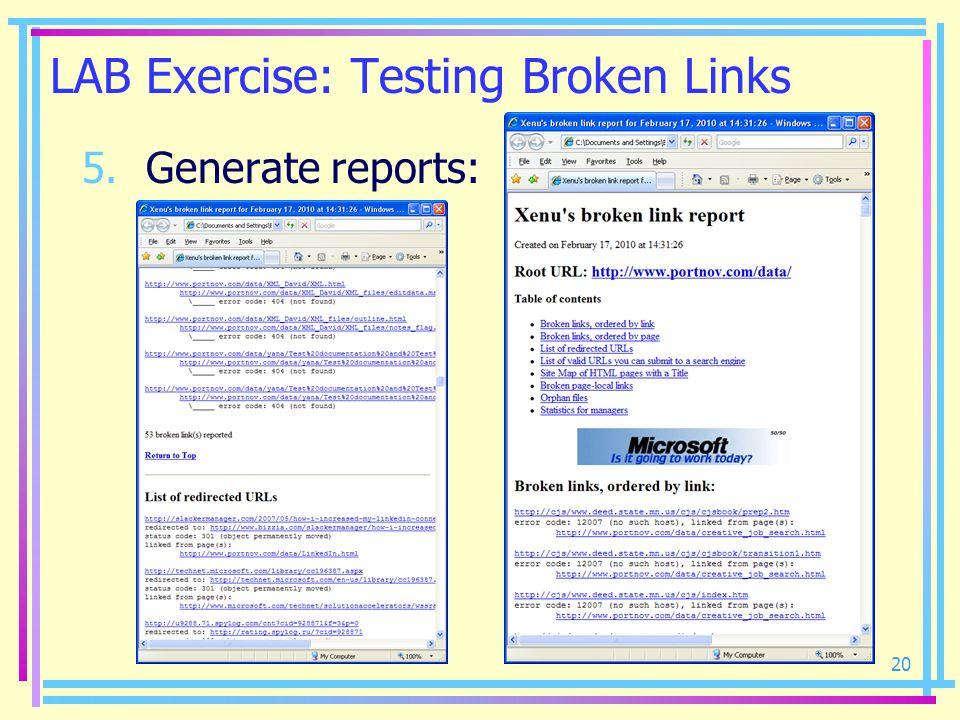 LAB Exercise: Testing Broken Links