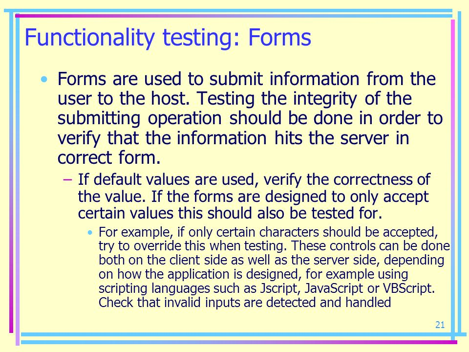 Functionality testing: Forms