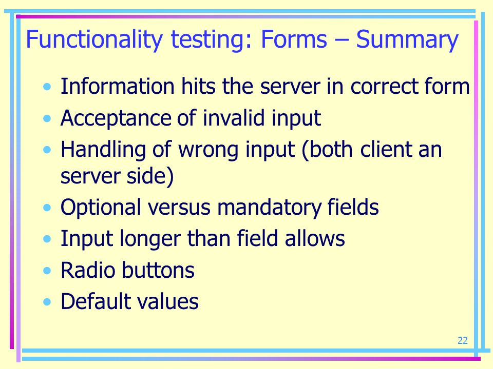 Functionality testing: Forms – Summary