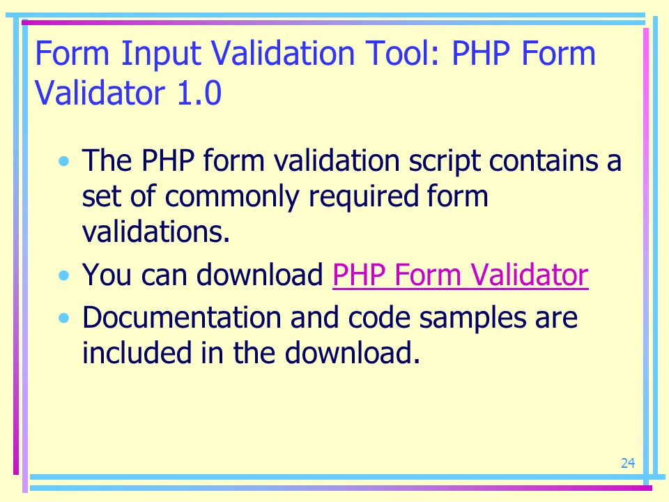 Form Input Validation Tool: PHP Form Validator 1.0