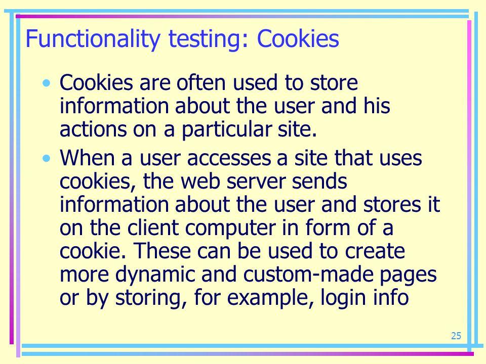 Functionality testing: Cookies