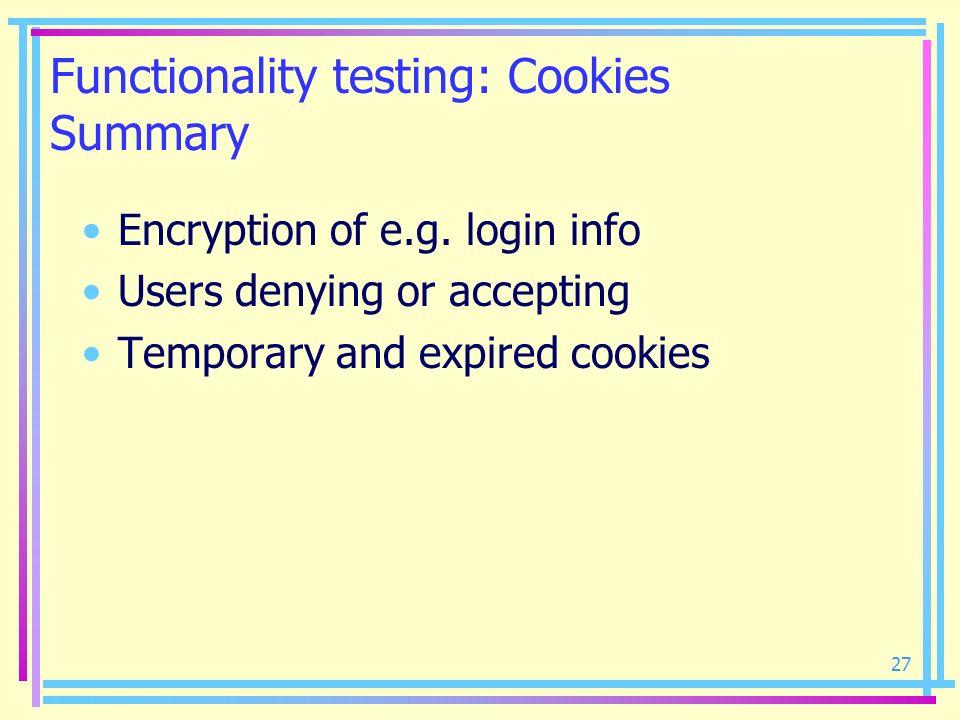 Functionality testing: Cookies Summary