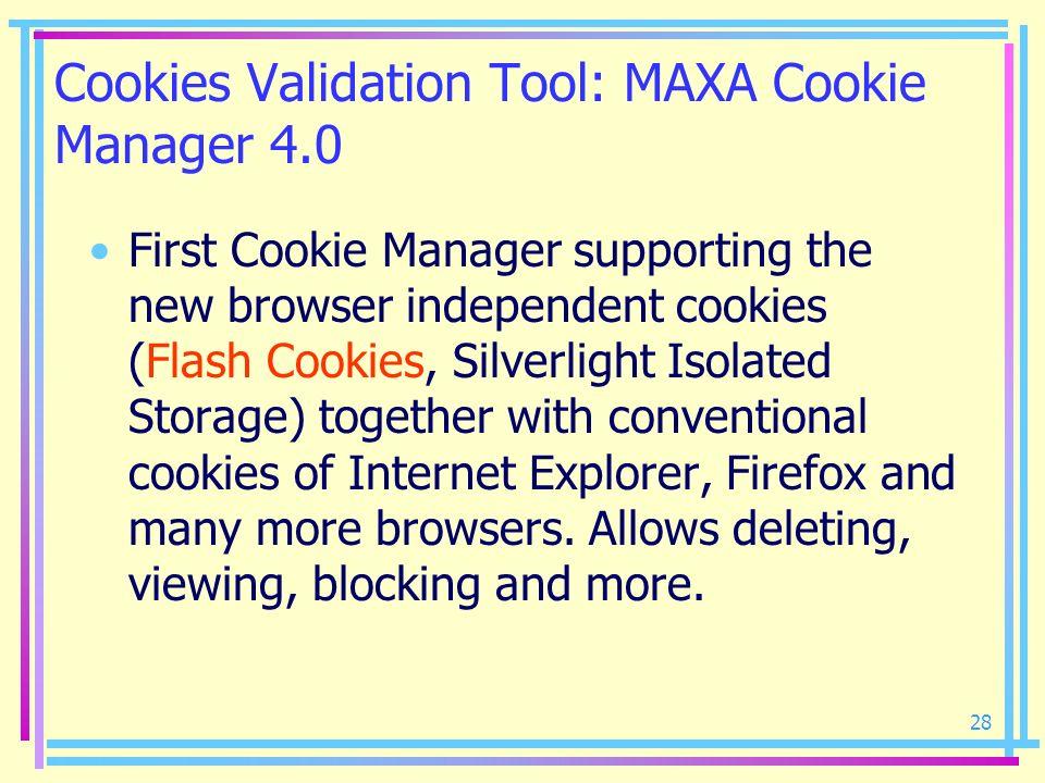 Cookies Validation Tool: MAXA Cookie Manager 4.0