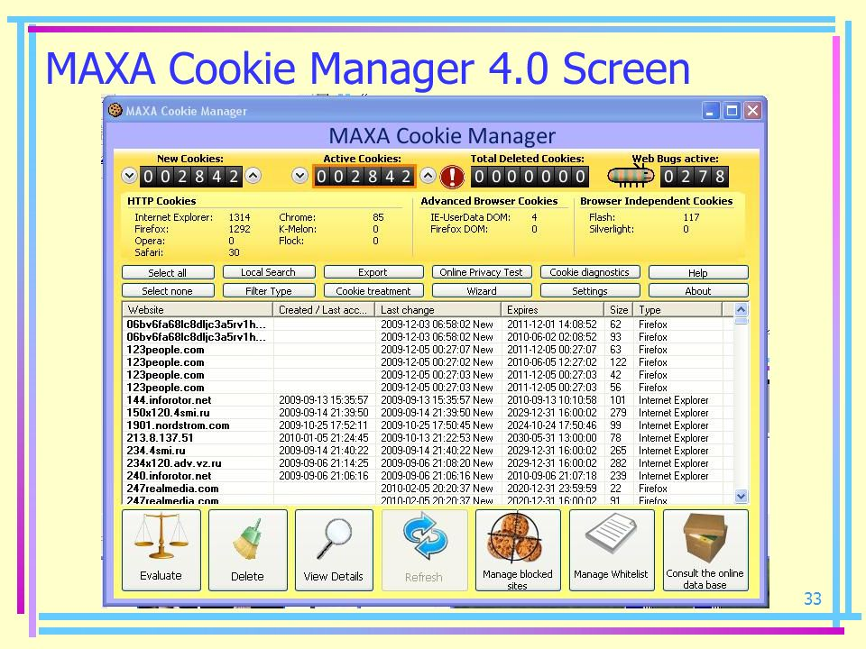 MAXA Cookie Manager 4.0 Screen