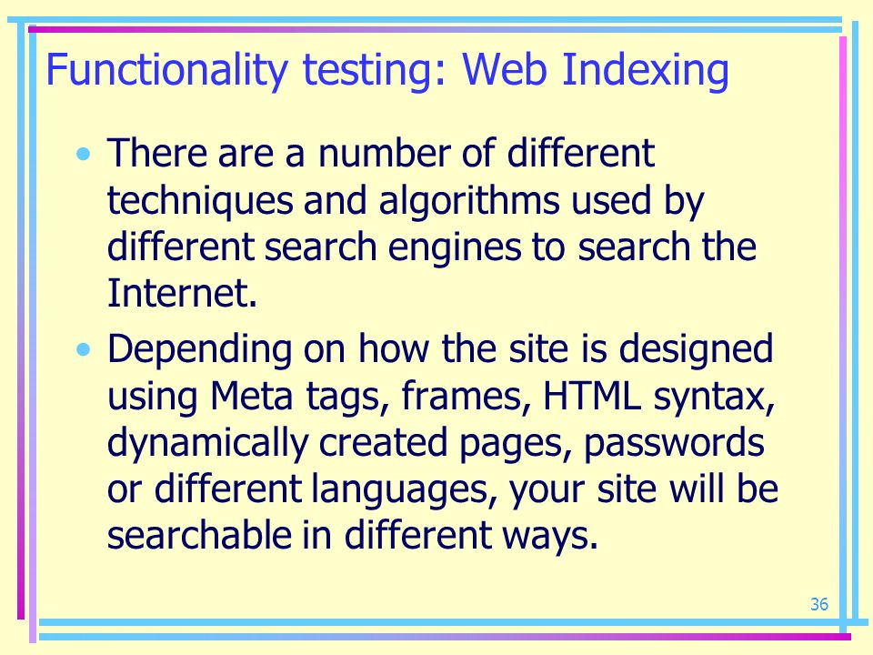 Functionality testing: Web Indexing