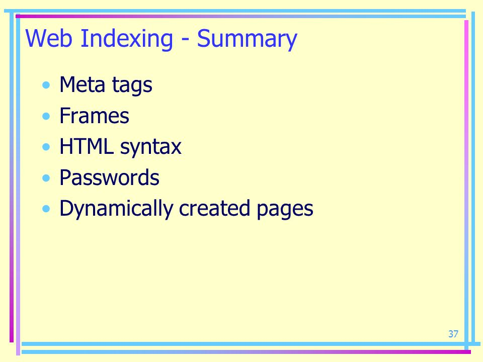Web Indexing - Summary Meta tags Frames HTML syntax Passwords