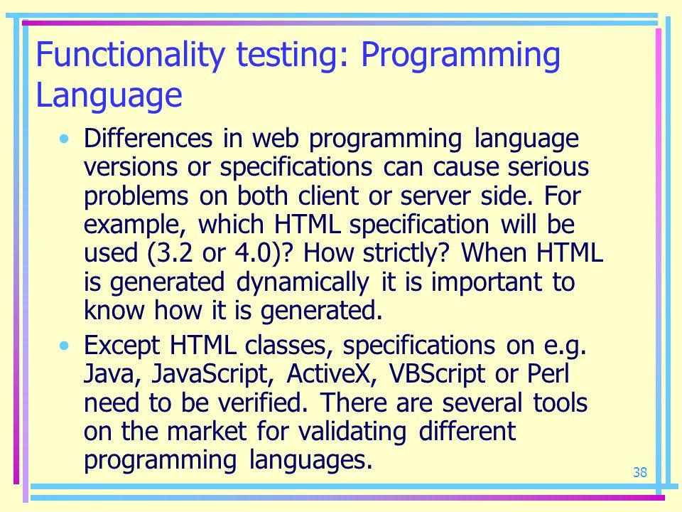 Functionality testing: Programming Language