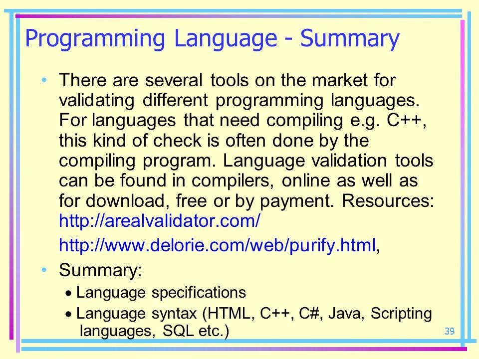 Programming Language - Summary