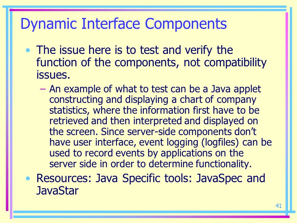Dynamic Interface Components