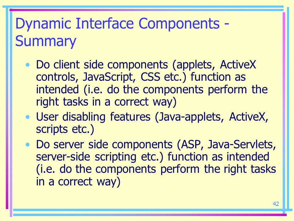 Dynamic Interface Components - Summary