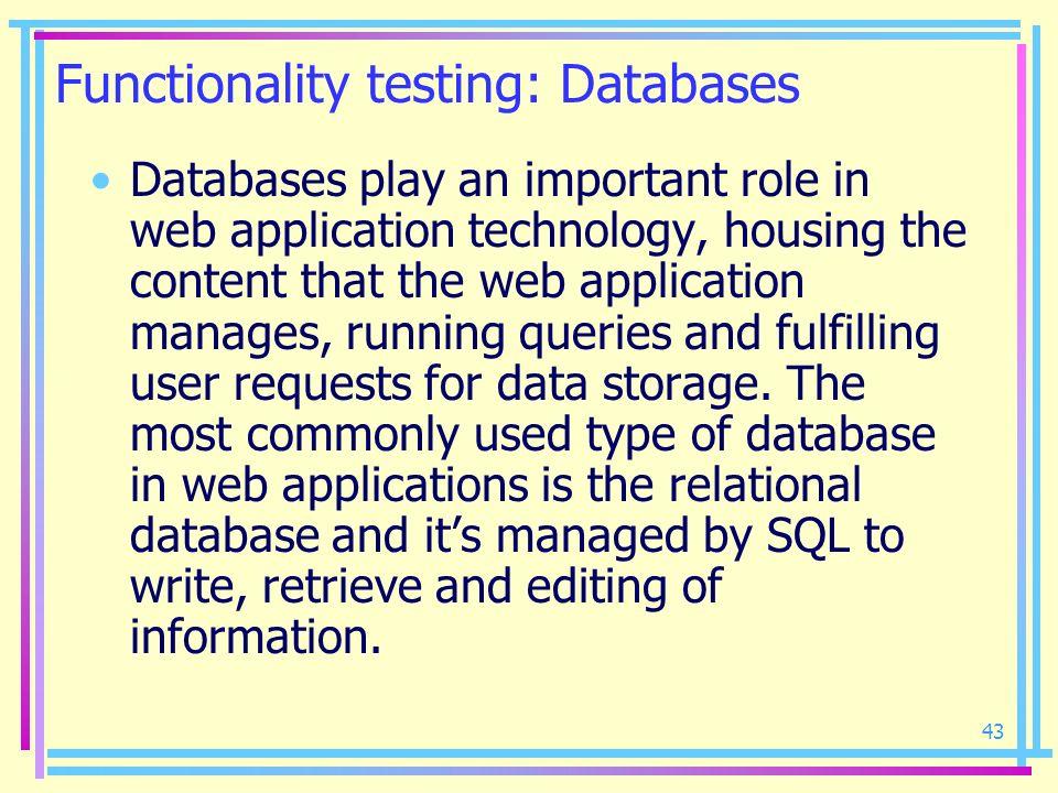 Functionality testing: Databases