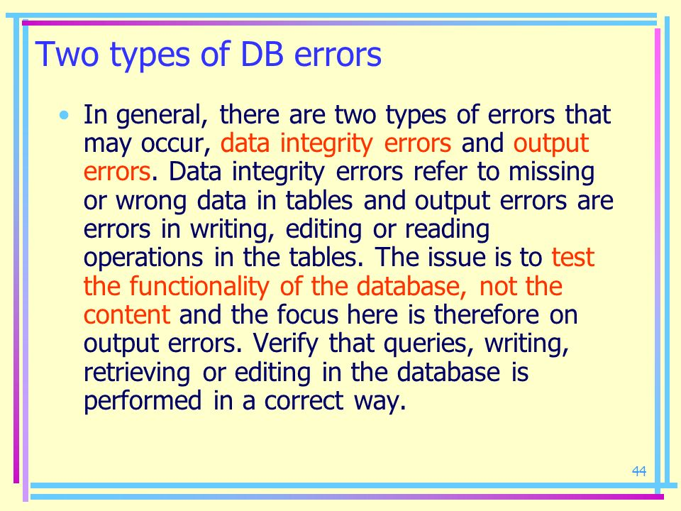 Two types of DB errors