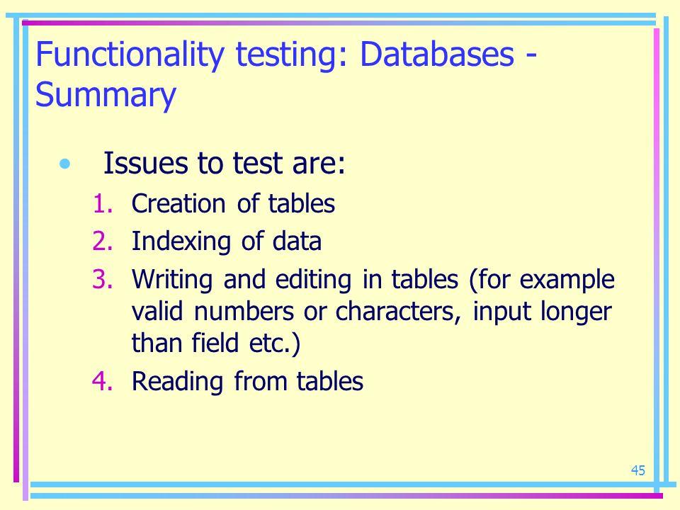 Functionality testing: Databases - Summary