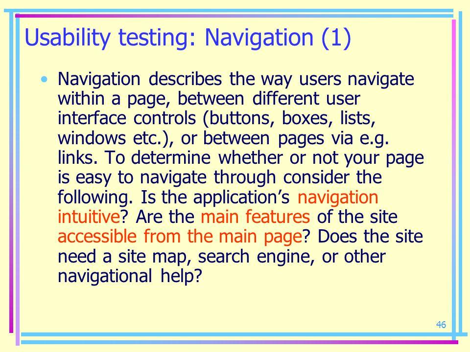 Usability testing: Navigation (1)