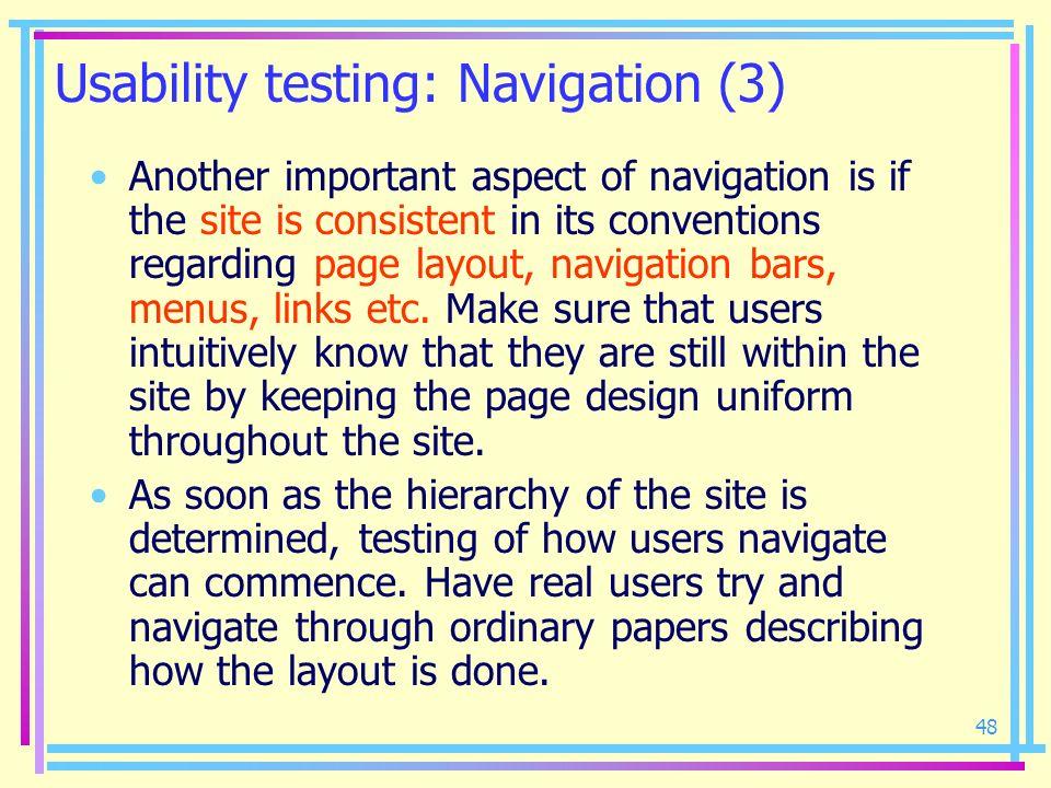 Usability testing: Navigation (3)