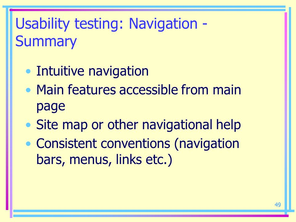 Usability testing: Navigation - Summary
