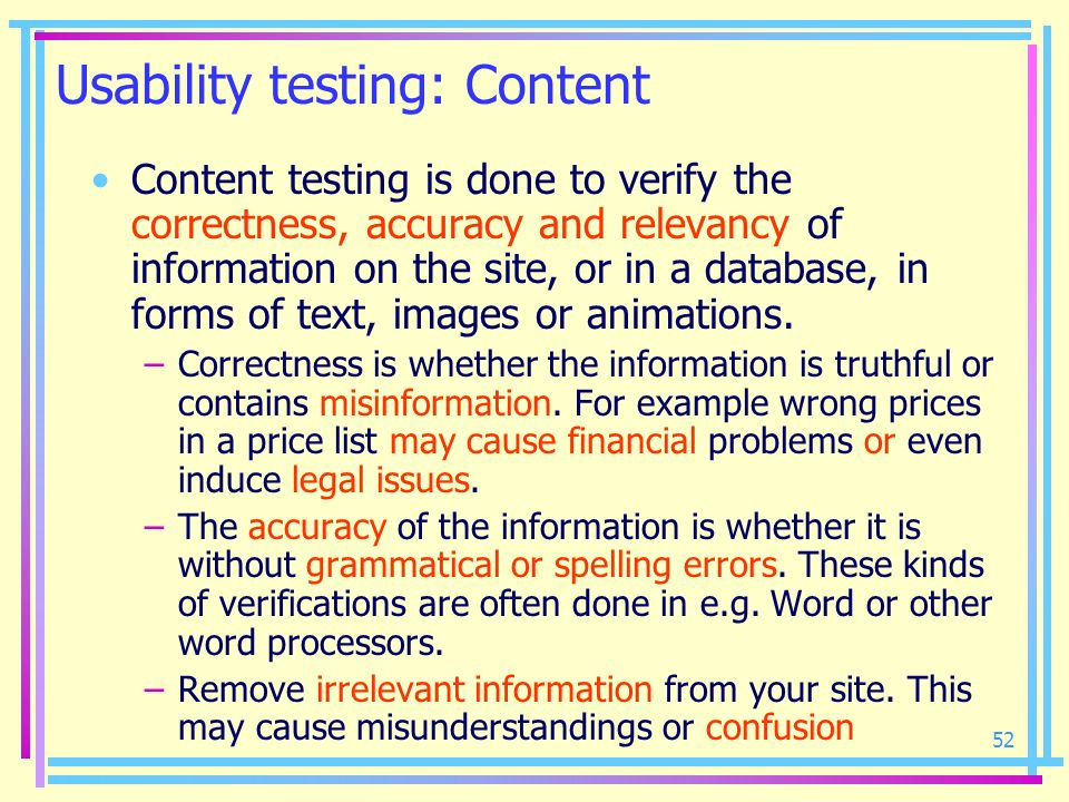 Usability testing: Content