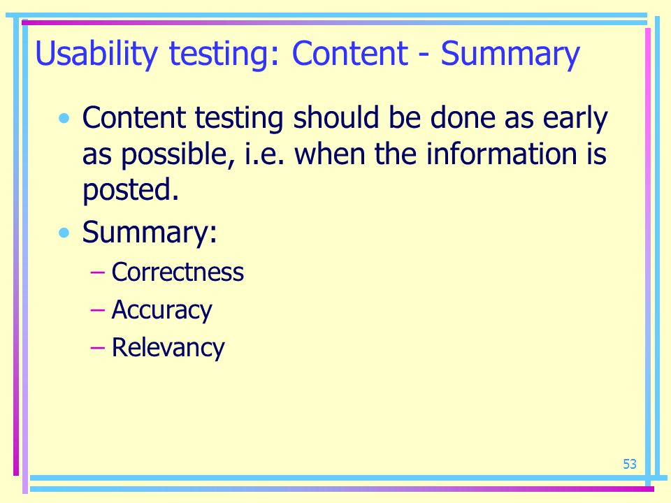 Usability testing: Content - Summary