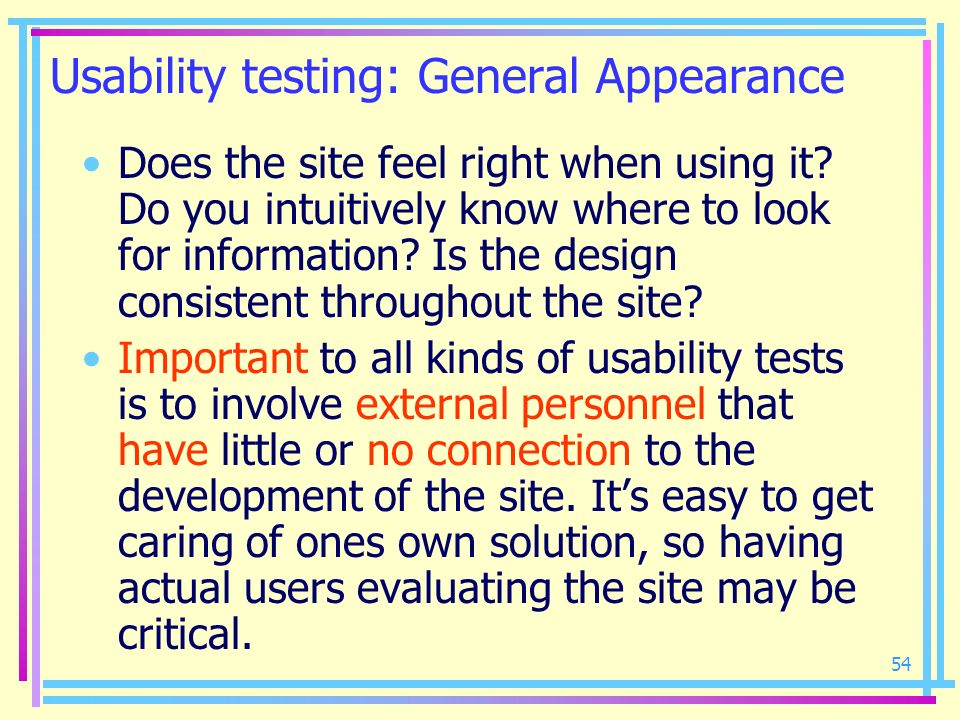 Usability testing: General Appearance