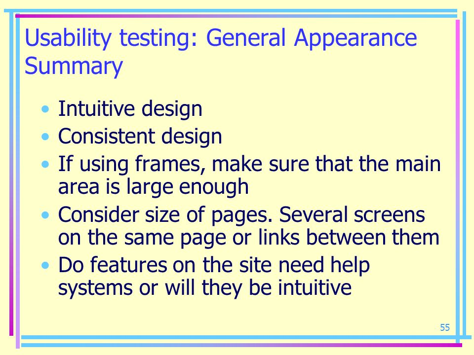 Usability testing: General Appearance Summary