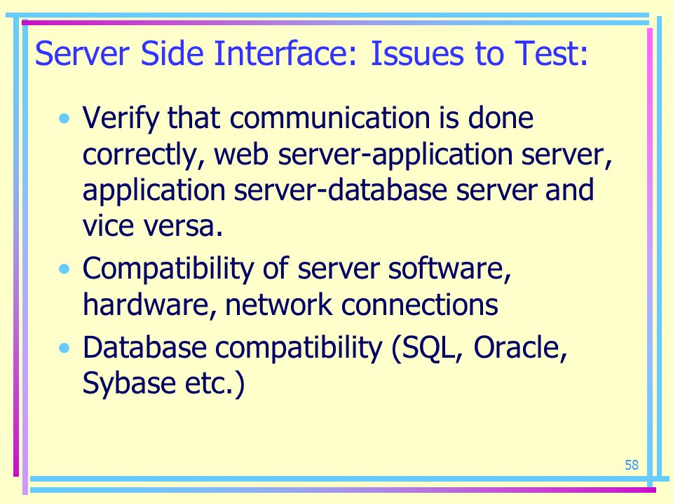 Server Side Interface: Issues to Test: