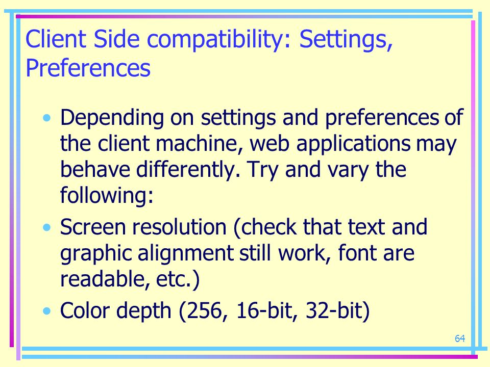 Client Side compatibility: Settings, Preferences