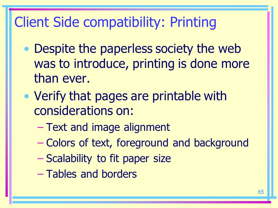 Client Side compatibility: Printing