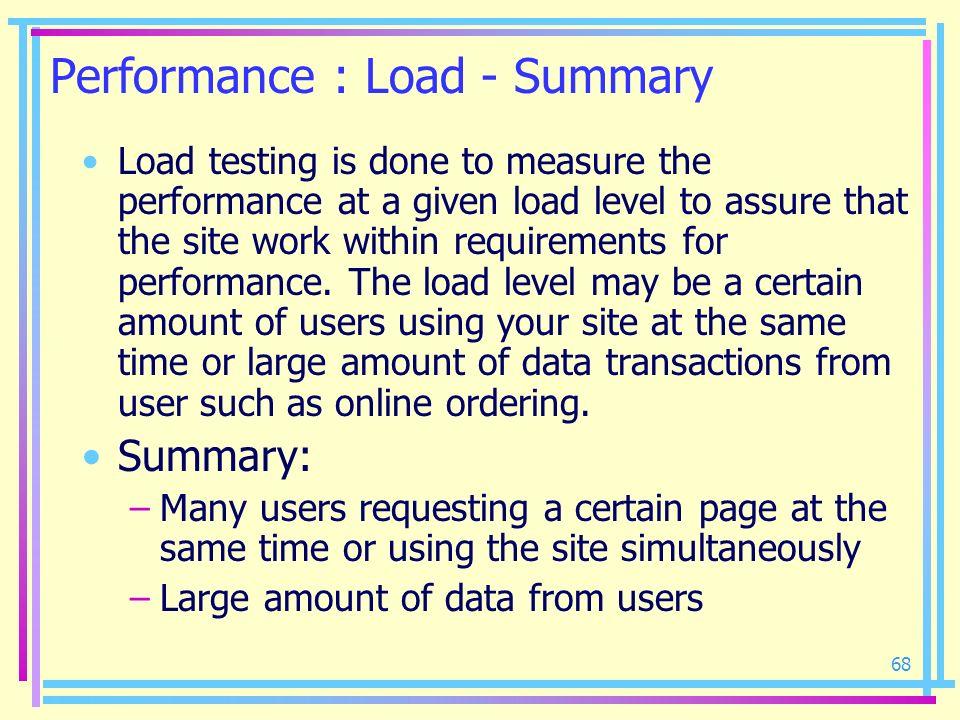 Performance : Load - Summary