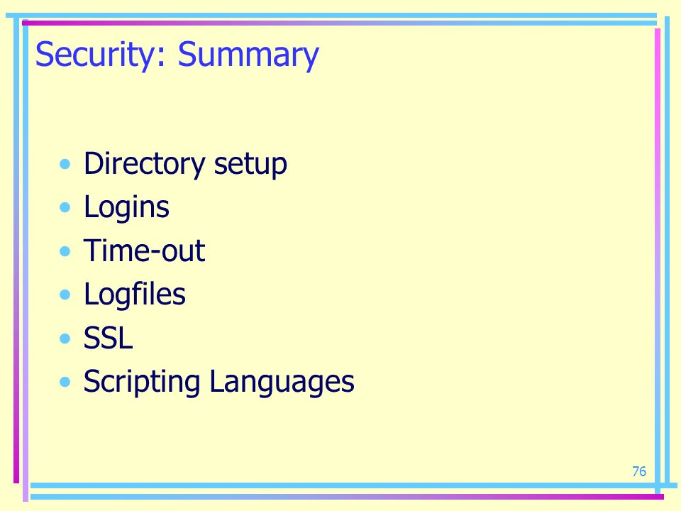 Security: Summary Directory setup Logins Time-out Logfiles SSL
