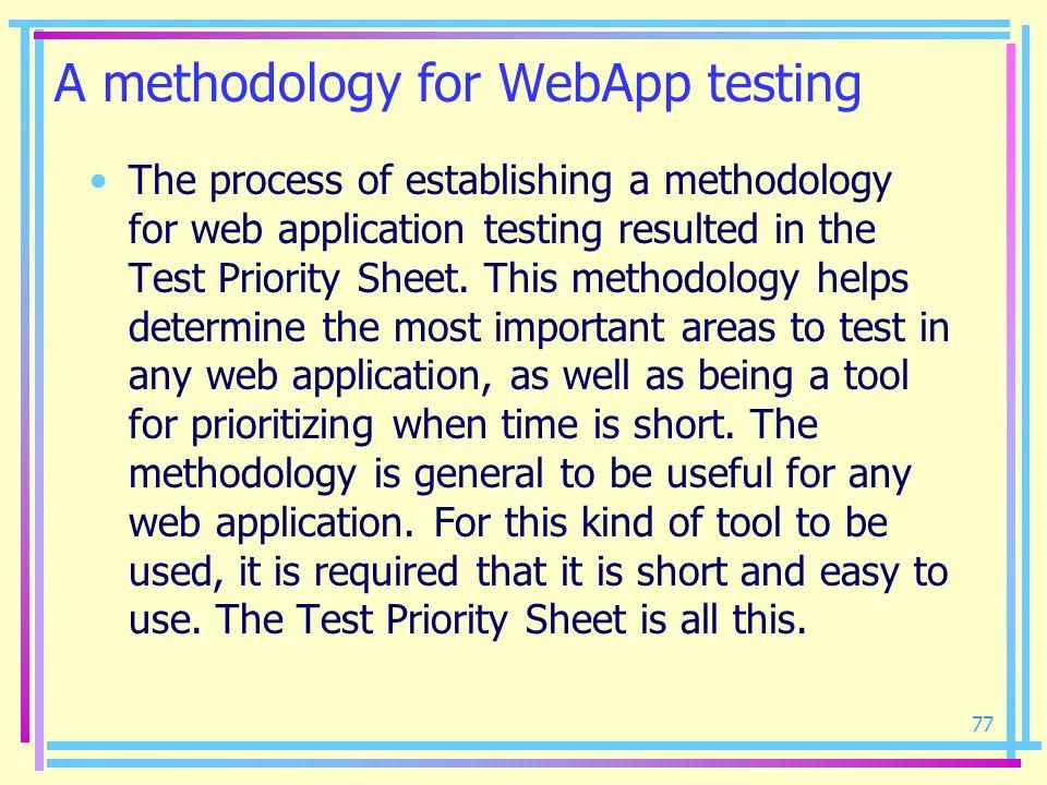 A methodology for WebApp testing