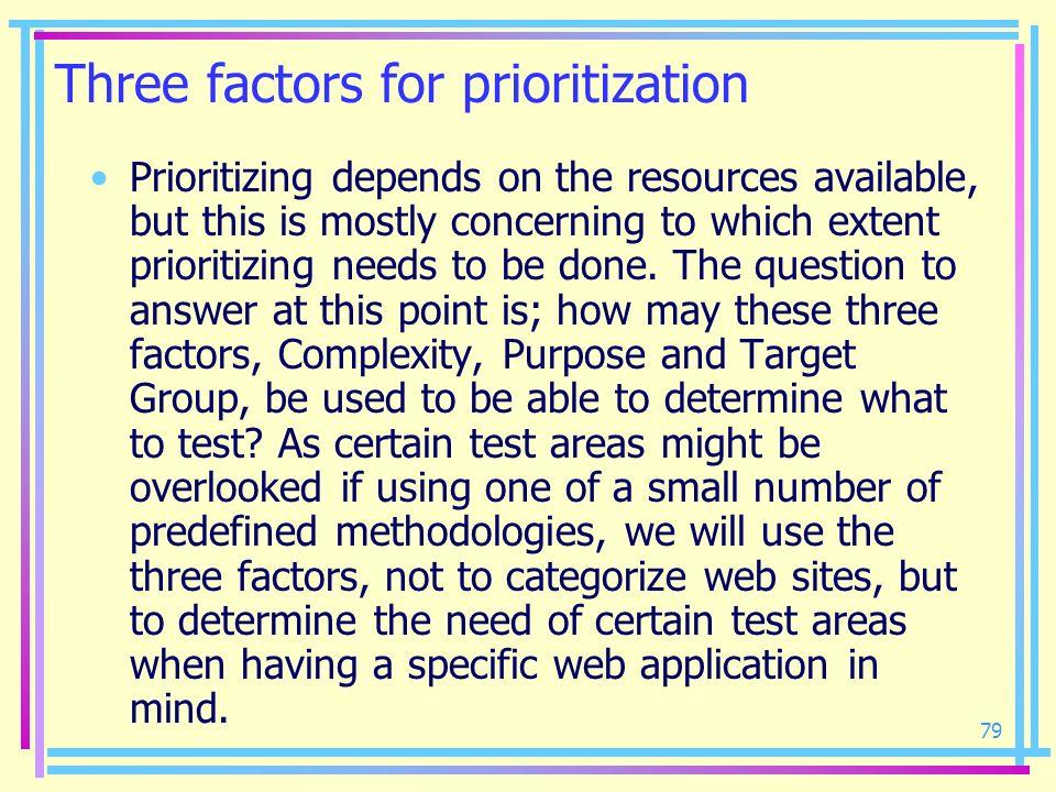 Three factors for prioritization