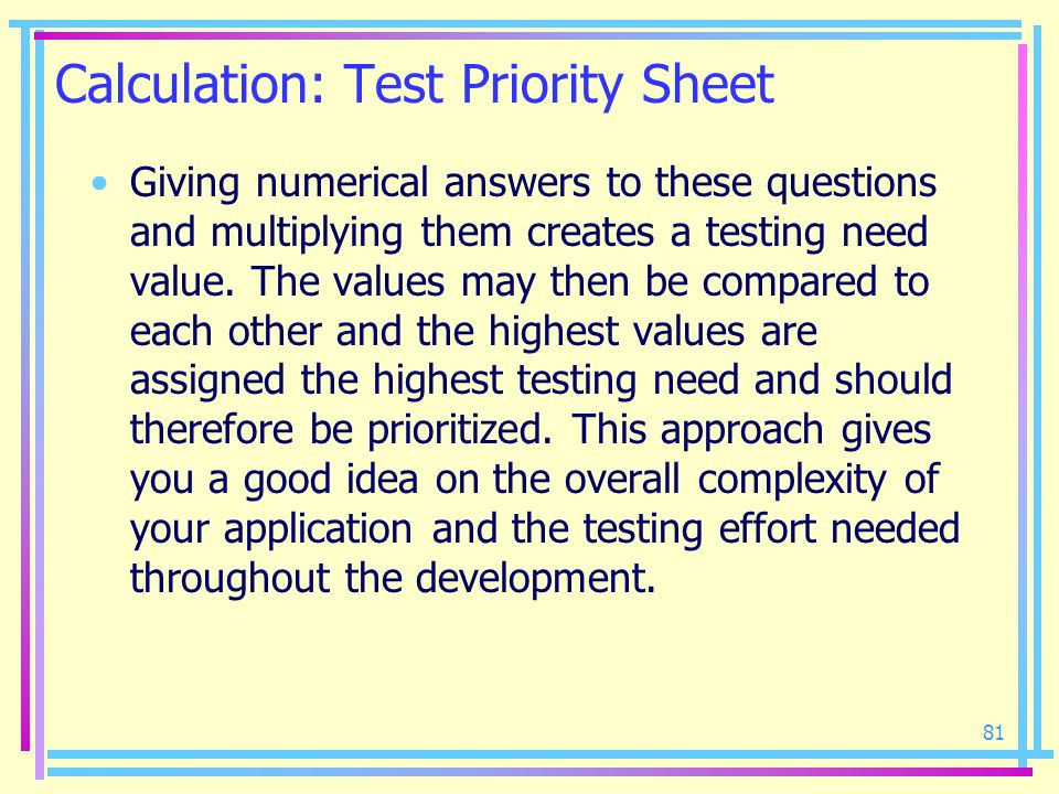 Calculation: Test Priority Sheet