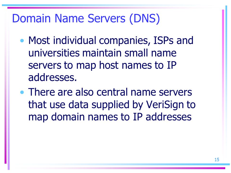 Domain Name Servers (DNS)