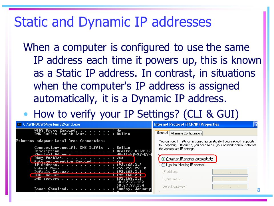 Static and Dynamic IP addresses