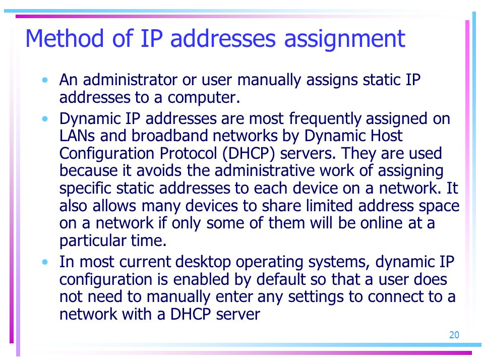Method of IP addresses assignment