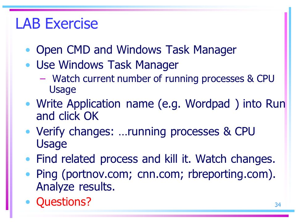 LAB Exercise Open CMD and Windows Task Manager