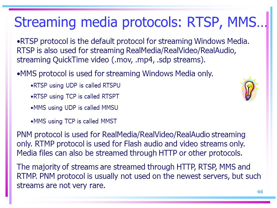 Streaming media protocols: RTSP, MMS…