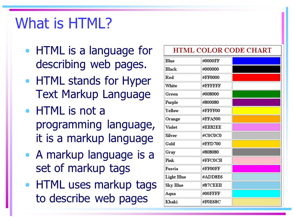 What is HTML HTML is a language for describing web pages.